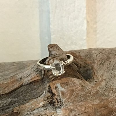 Herkimer diamond point silver ring size 7.5