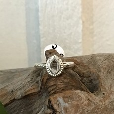 Herkimer Diamond teardrop silver ring size 6