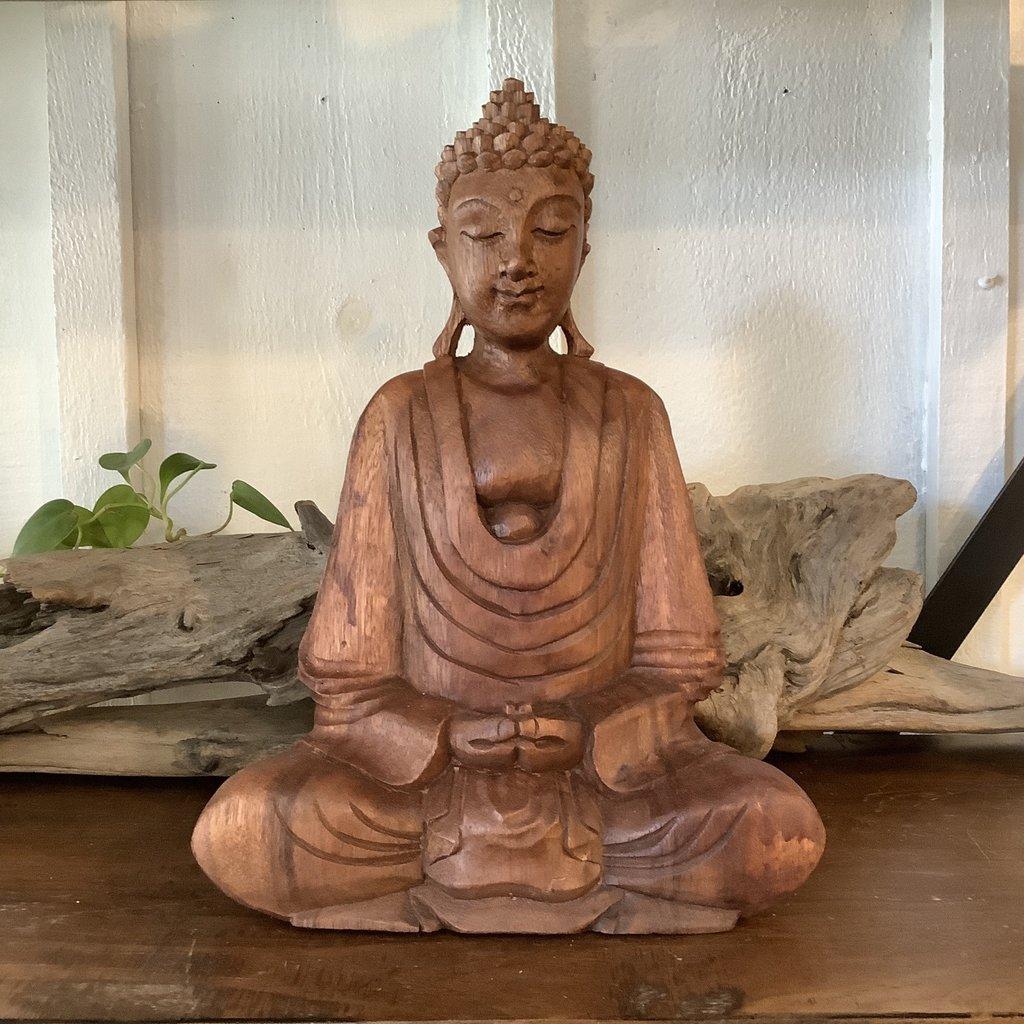 Hand carved wood Buddha