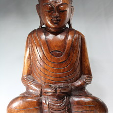 Buddha statue wood hand carved in Indonesia