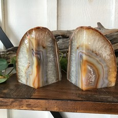 Natural Agate Bookends brown