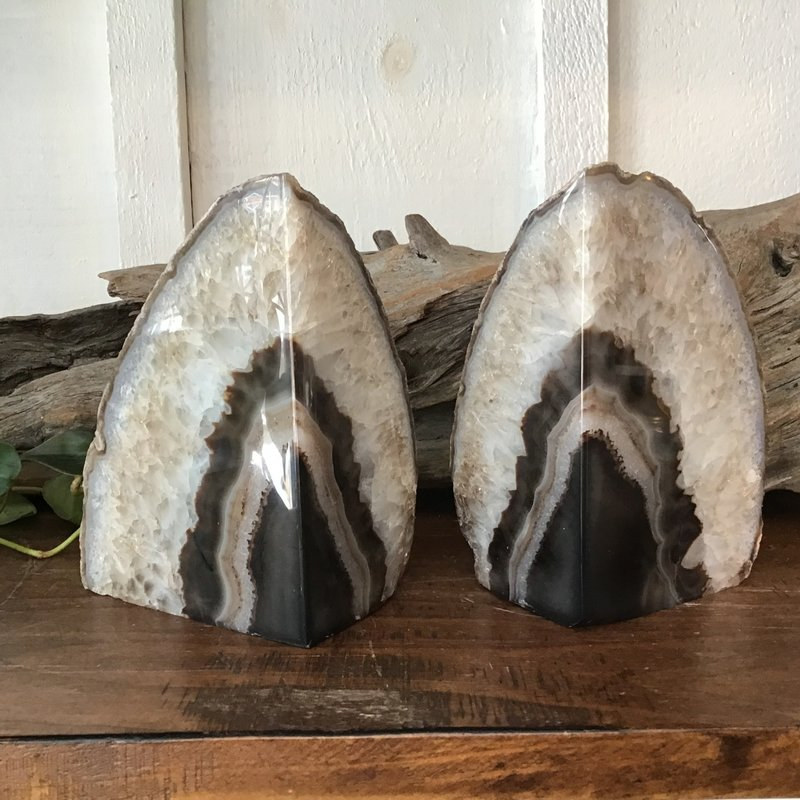 Natural Agate Bookends - dark brown