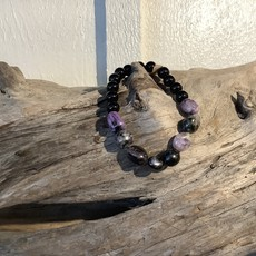 Charoite and Onyx Bracelet 8mm with Raw
