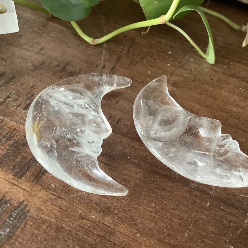 Clear Quartz Moon with Face