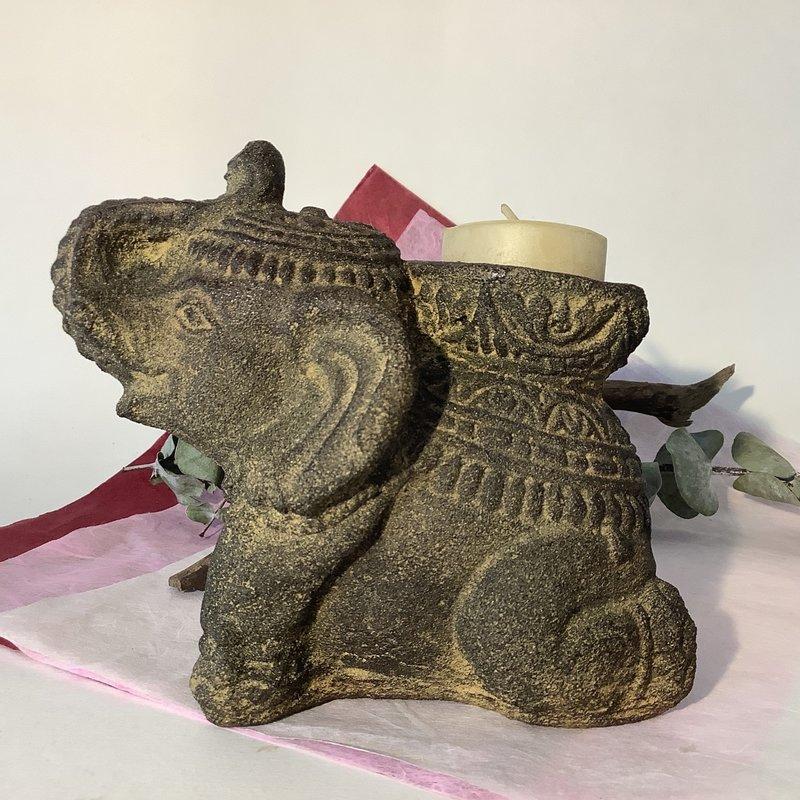 Stone Elephant Candle and Incense Holder