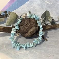 Larimar chip bracelet with clasp