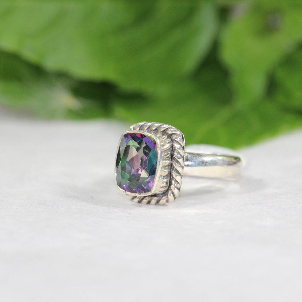 Mystic Topaz Silver Ring size 6