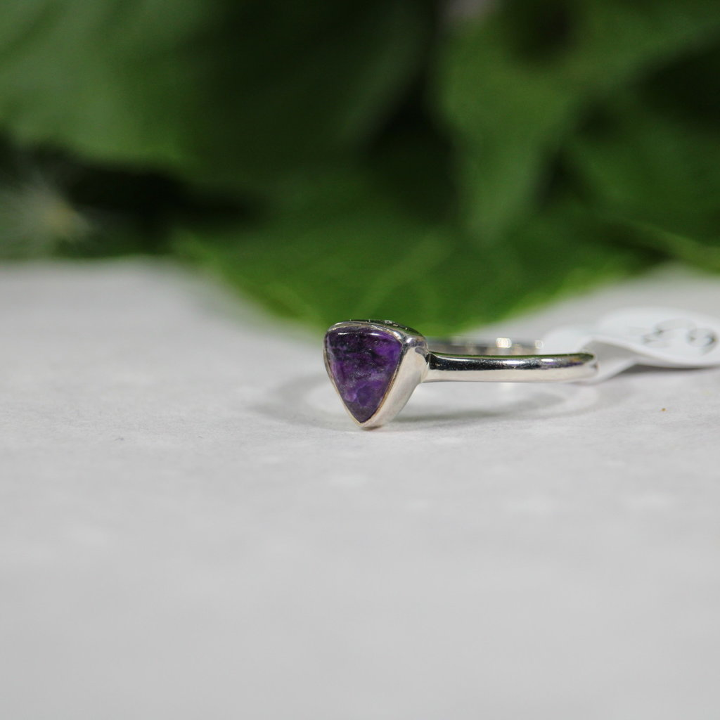 Charoite Silver Ring Size 7