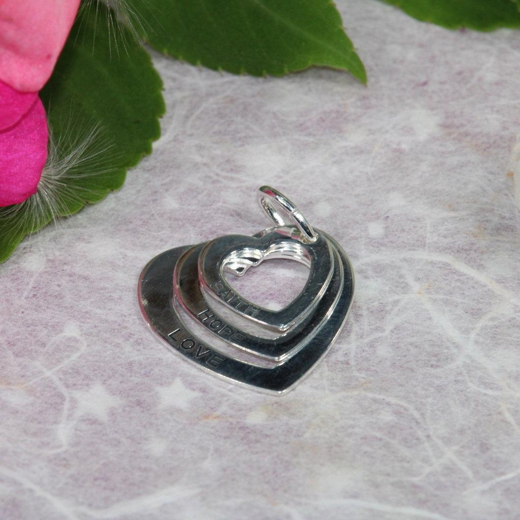 Faith Hope Love 3 Heart Silver Charm
