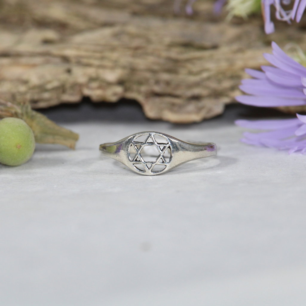 Star of David Silver Ring sz 9