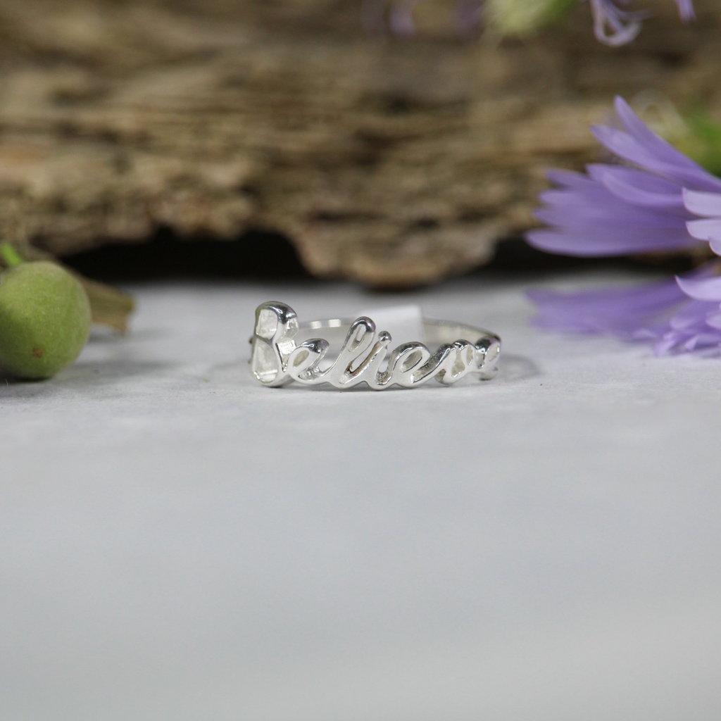 Believe Silver Ring sz 6