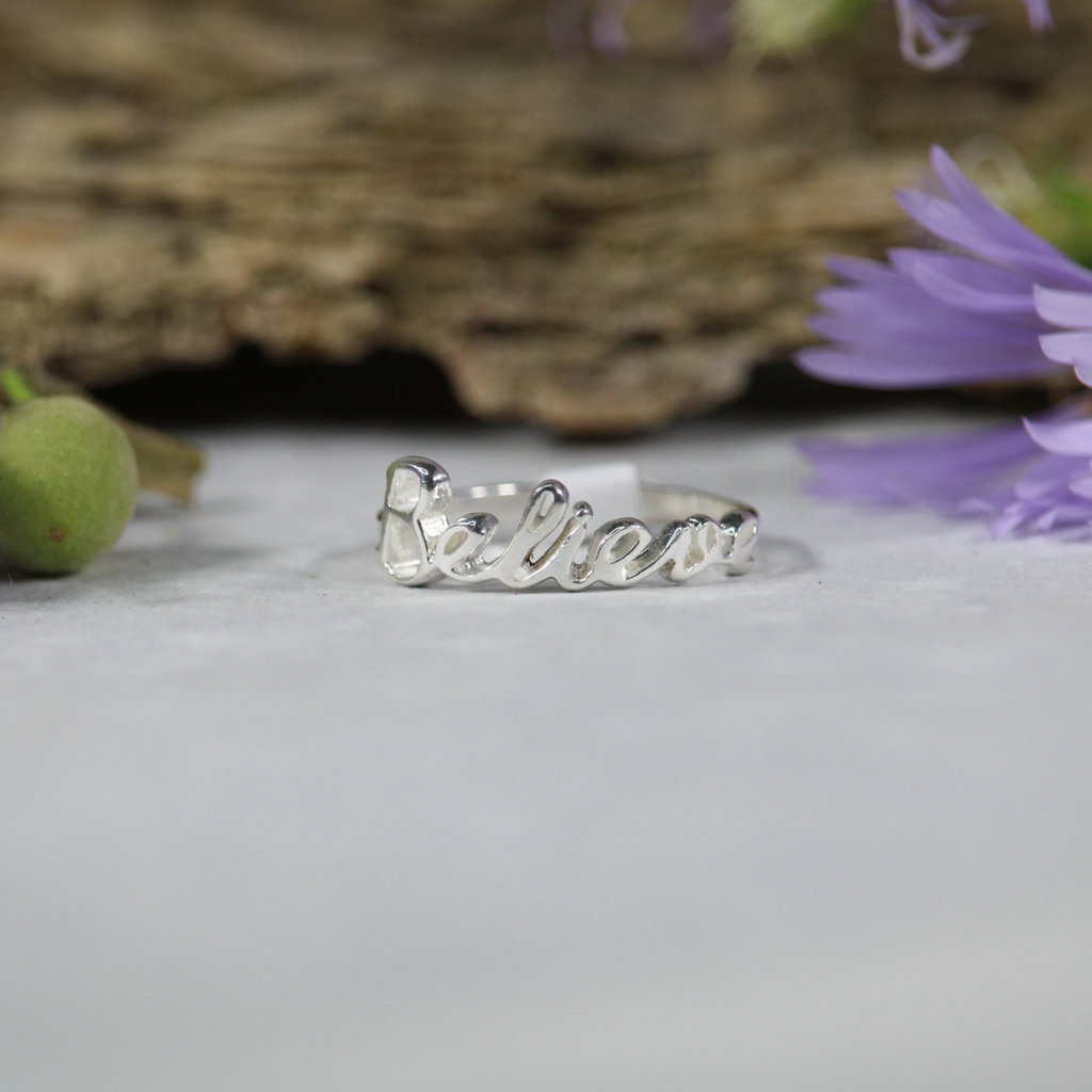 Believe Silver Ring size 7
