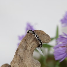 Smooth and Textured Braid Silver Ring Size 8