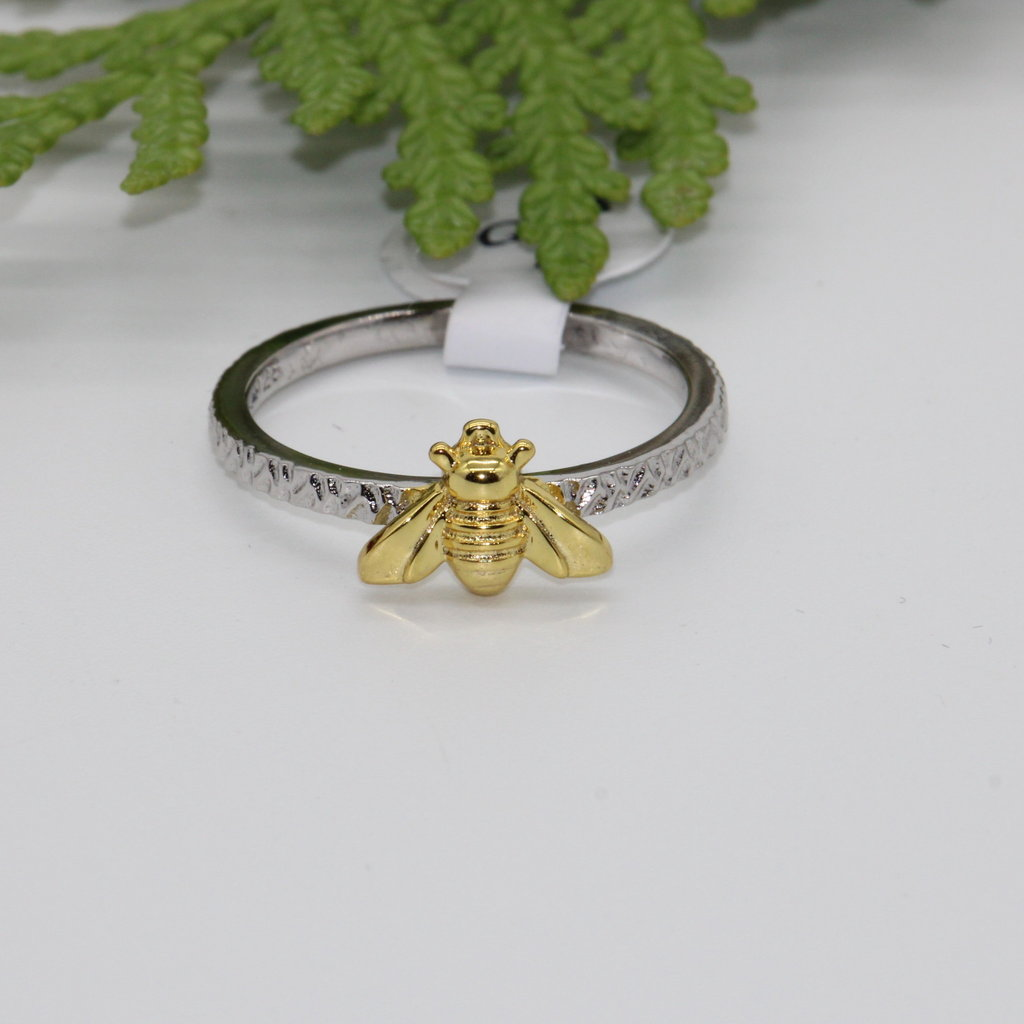 Gold Bee Silver Ring Size 7