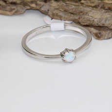 Opal Silver Ring Size 6