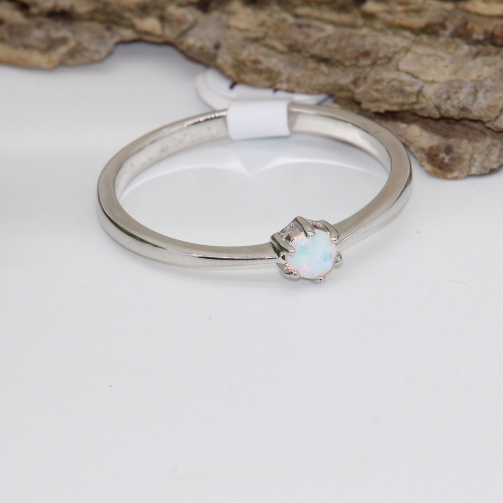 Opal Silver Ring Size 3