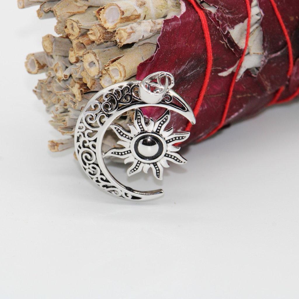 Silver Moon with Silver Sun Pendant