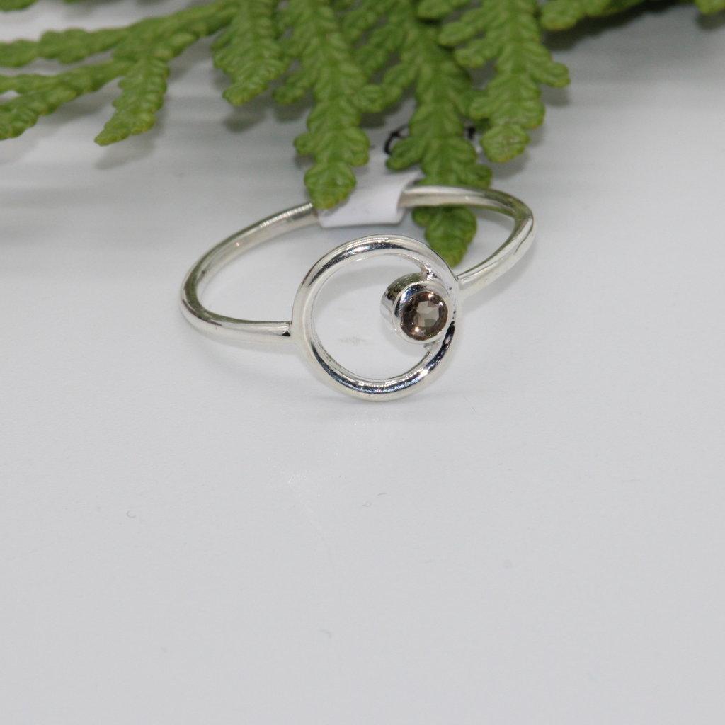 Smoky Quartz Stone inside Circle Silver Ring Size 9