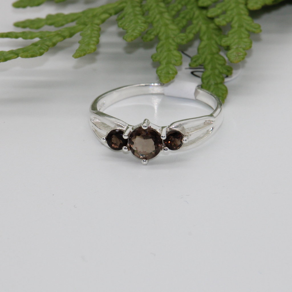 Smoky Quartz Three Stones Silver Ring Size 7