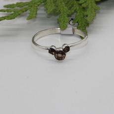Smoky Quartz Mickey Mouse shape Silver Ring Size 9