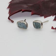 Apatite Raw Silver Stud Earrings
