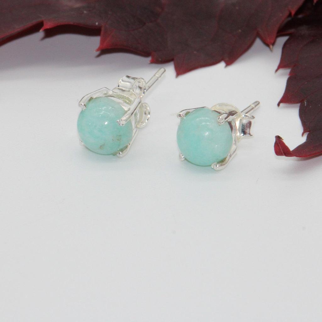 Larimar Silver Stud Earrings