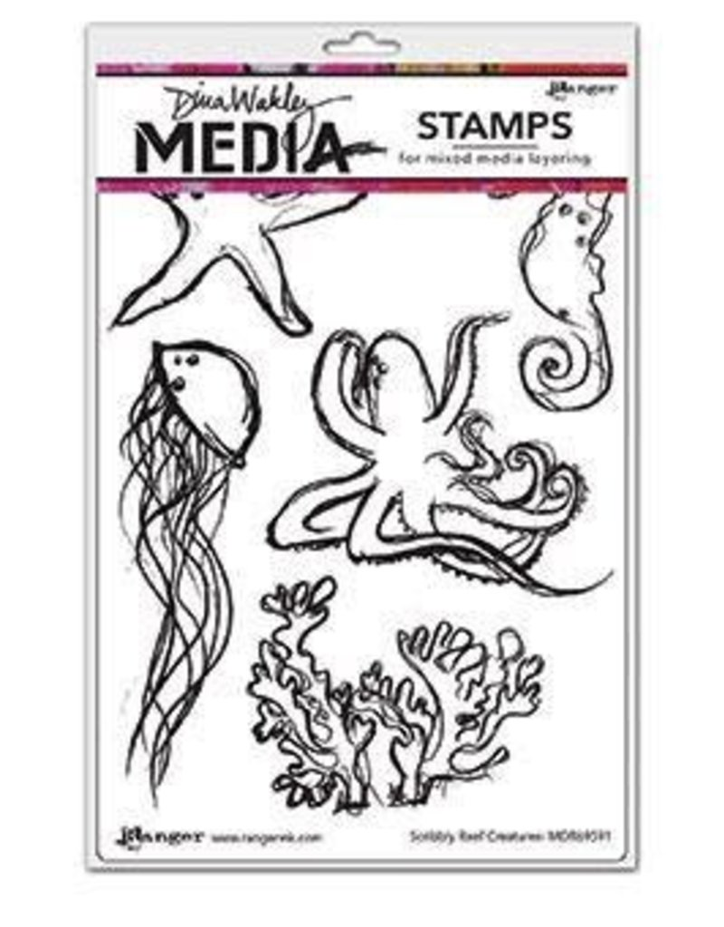 RANGER Ranger Dina Wakley Stamps Scribbly Reef Creatures