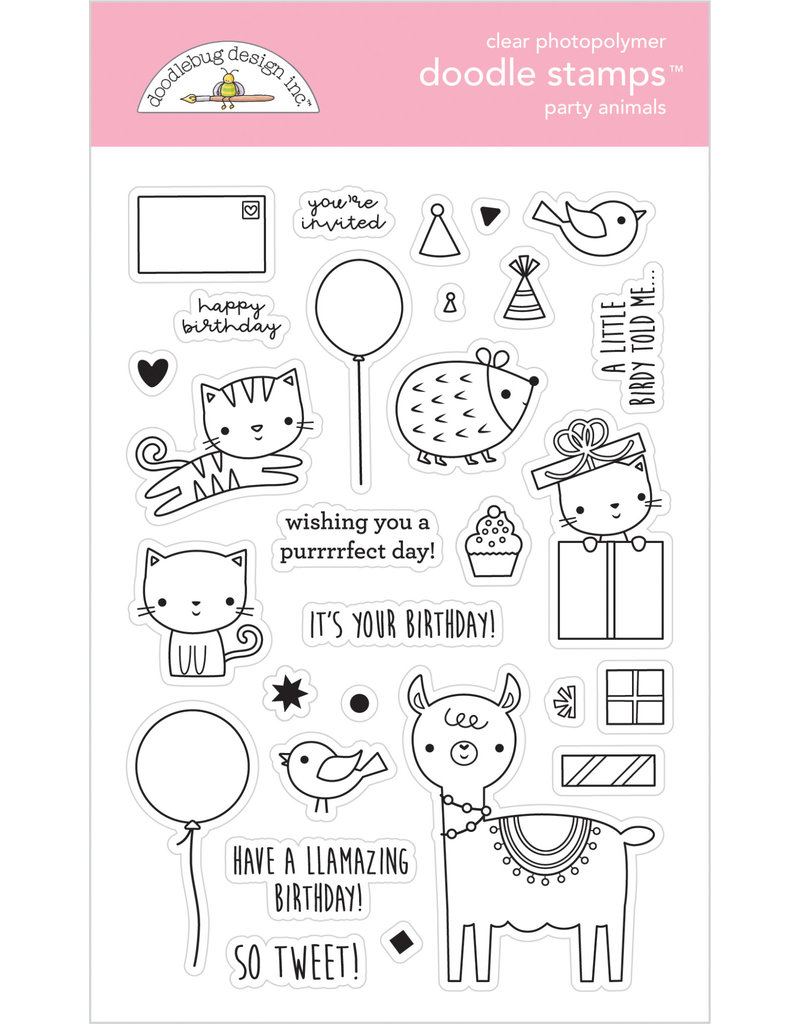 DOODLEBUG Doodlebug hey cupcake party animals - girl doodle stamps