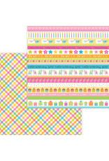 DOODLEBUG Doodlebug hey cupcake party girl plaid double-sided cardstock