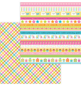 DOODLEBUG Doodlebug hey cupcake party girl plaid double-sided cardstock