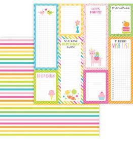 DOODLEBUG Doodlebug hey cupcake sundae stripe double-sided cardstock