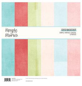 simple stories Simple Vintage Coastal : 12x12 Basics Kit