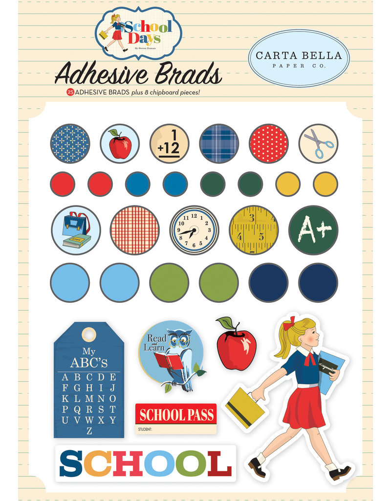 Carta Bella CB School Days:  Adhesive Brads