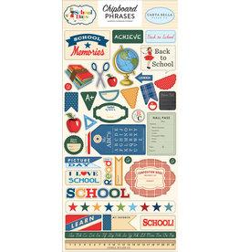 Carta Bella CB School Days:  6x13 Chipboard Phrases