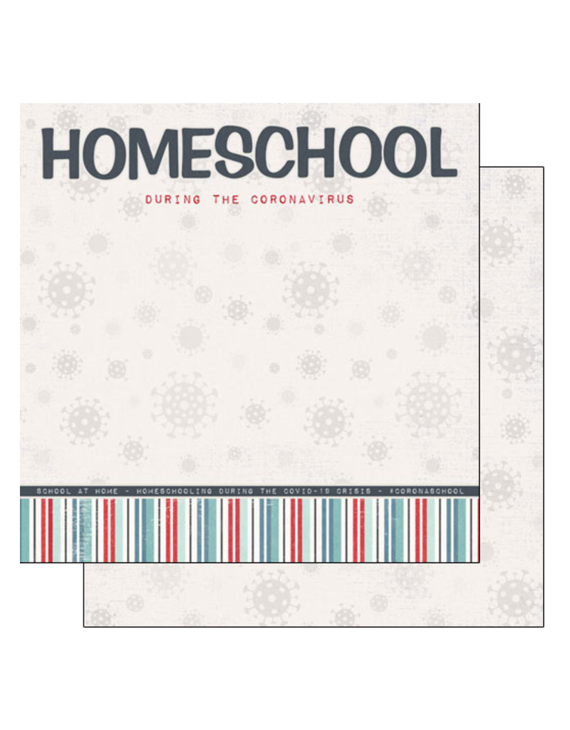 scrapbook customs COVID-19 Homeschool Title double sided paper
