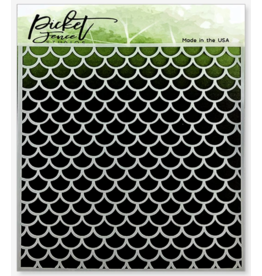picket fences Mermaid Scales Stencil