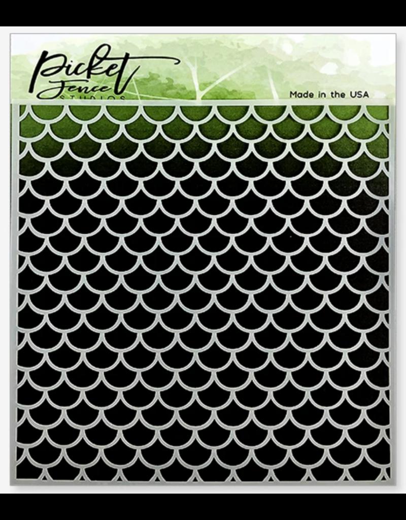 picket fences Mermaid Scales Stencil