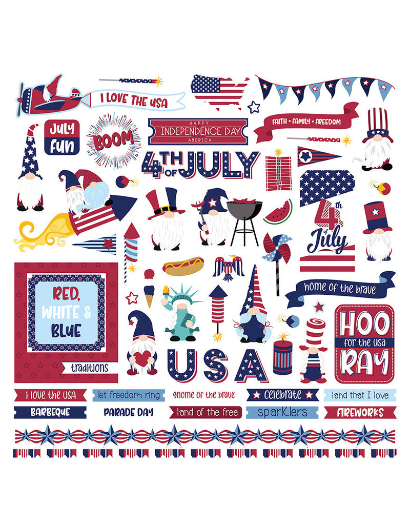Photoplay Gnome for July 4th Element Sticker