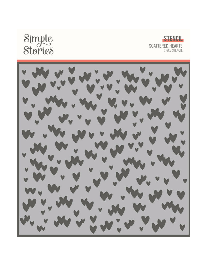 simple stories SS 6x6 Stencil-Scattered Hearts Kate & Ash