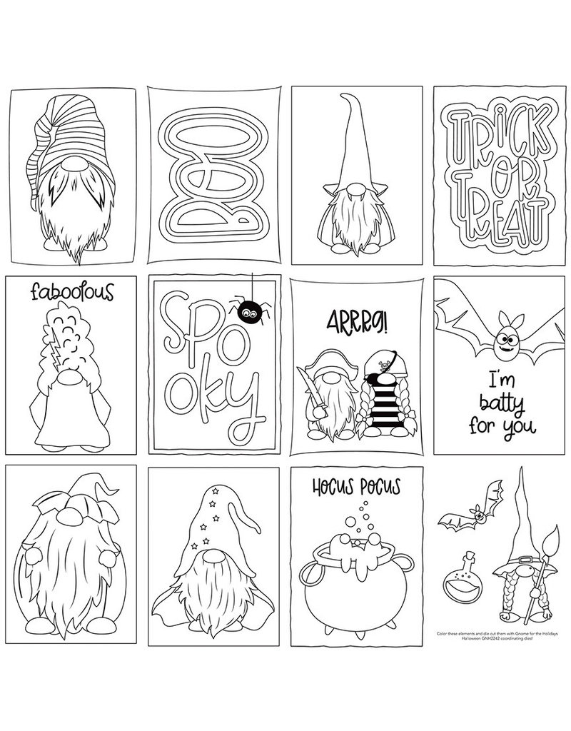 Photoplay Gnome for Halloween Paper: Color Me