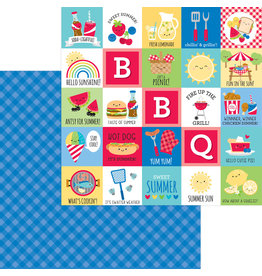 DOODLEBUG bar-b-cute: blueberry plaid double-sided cardstock