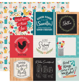 Echo Park EP Farmhouse Kitchen Paper: 4X4 Journaling Cards