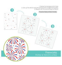 Taylored expressions Fireworks Background Stamp & Stencil