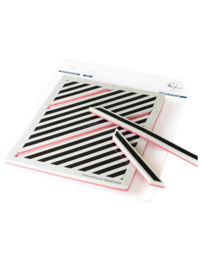 pink fresh Pop Out: Diagonal Stripes cling stamp