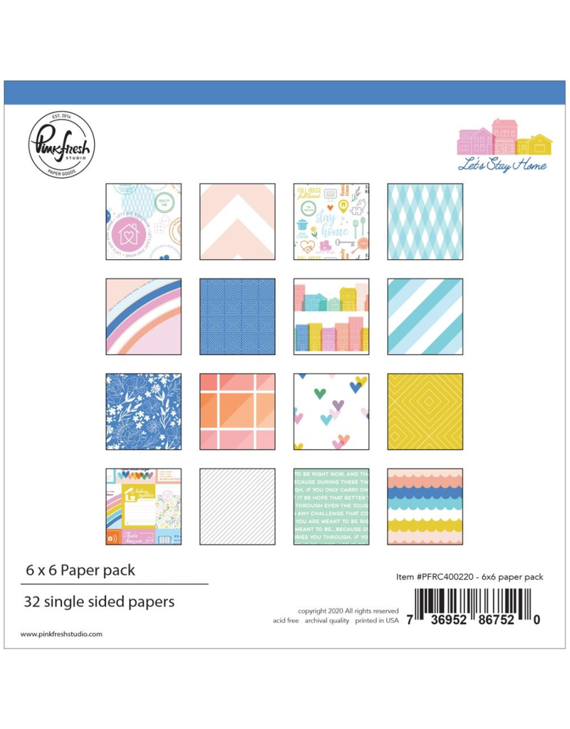 pinkfresh studios Let's stay home: 6 x 6 paper pack