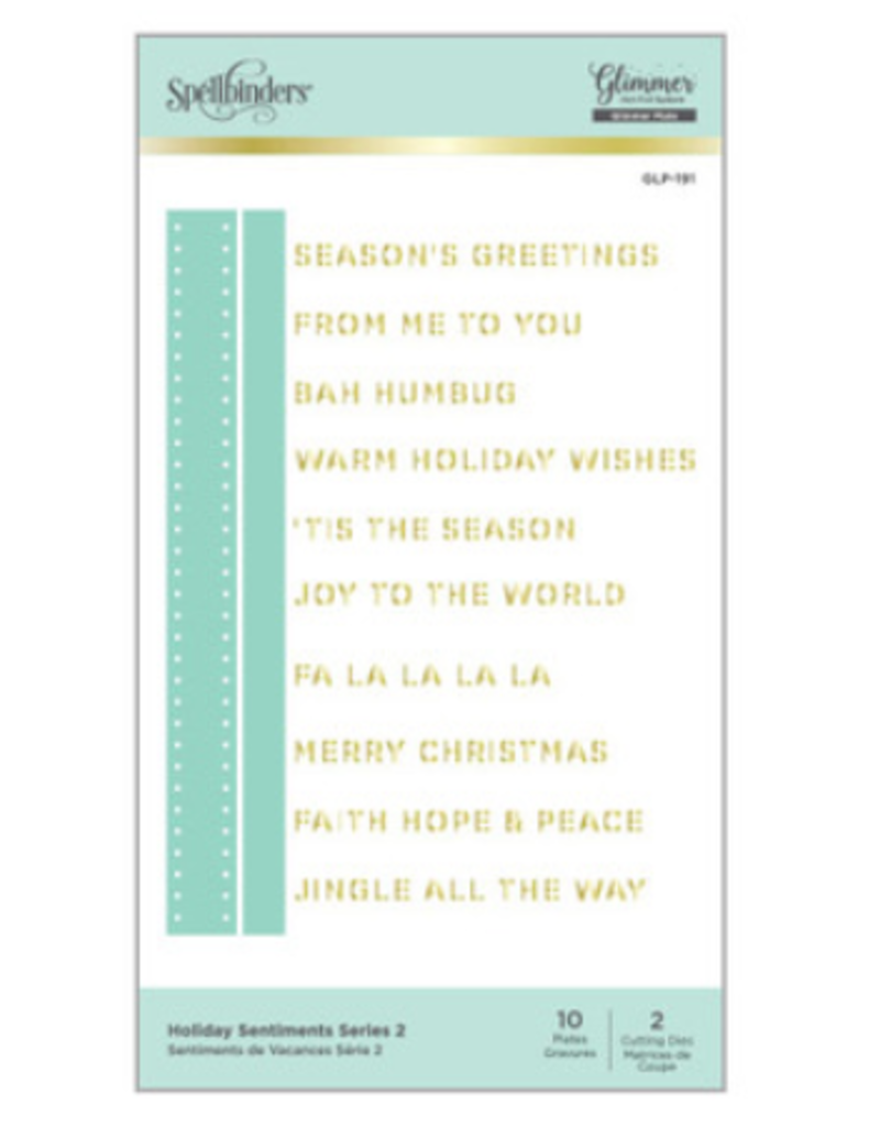 spellbinders Holiday Sentiments Series 2 Die Set (Glimmer Hot Foil Plate)