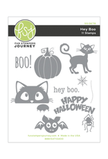 FSJ Hey Boo Red Rubber Stamp Set
