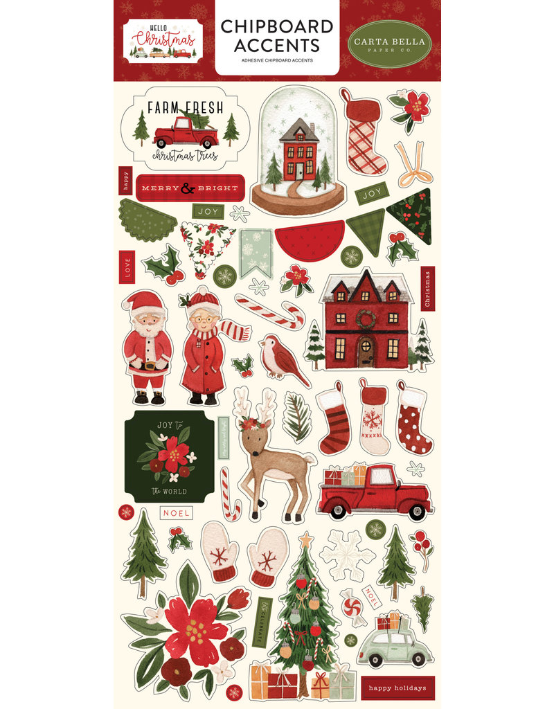 Carta Bella Hello Christmas:  6x13 Chipboard Accents