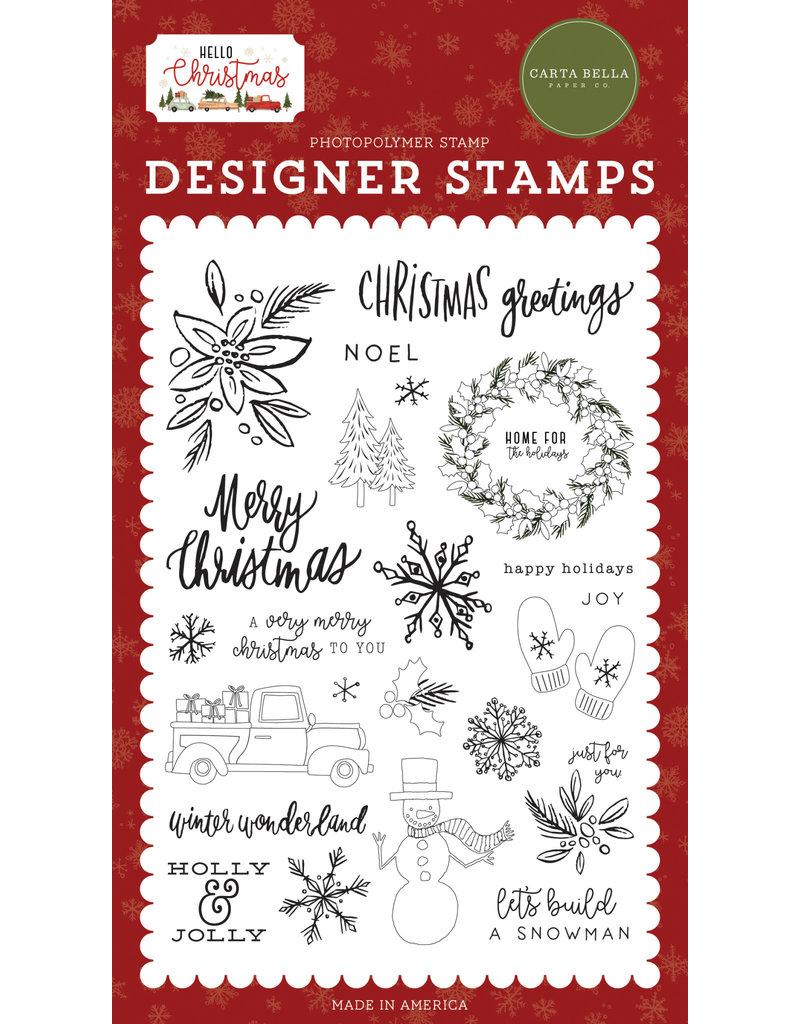 Carta Bella Hello Christmas: Christmas Greetings Stamp Set