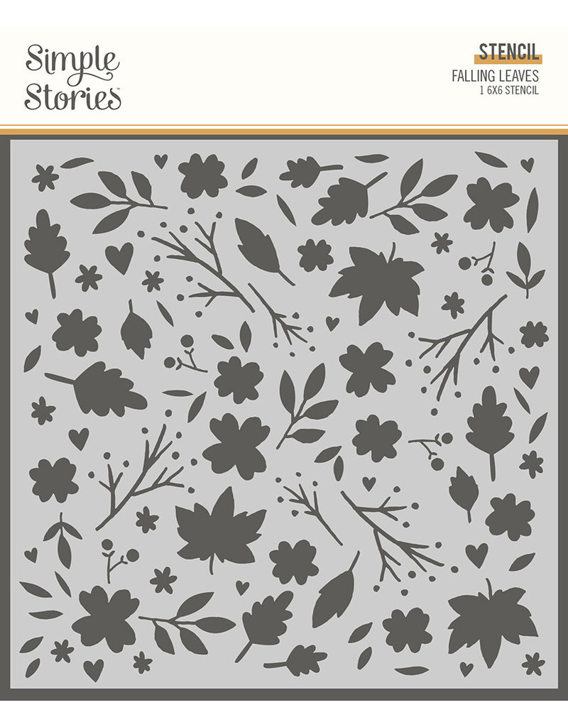 simple stories Cozy Days: 6x6 Stencil - Falling Leaves